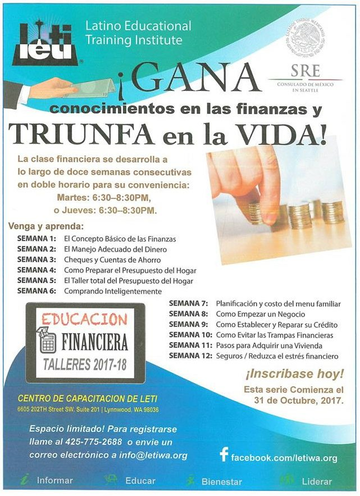 flyer for Financial Literacy program (in Spanish).
